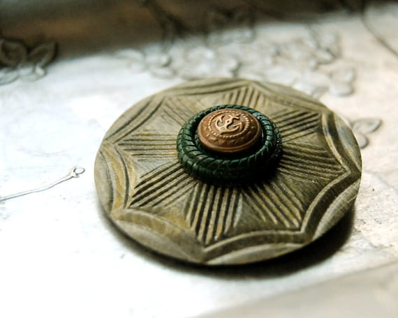 Vintage Button Brooch Brass Anchor Military Nautical Olive Green Celluloid Eco Friendly Jewelry Winter Art Deco Accessories