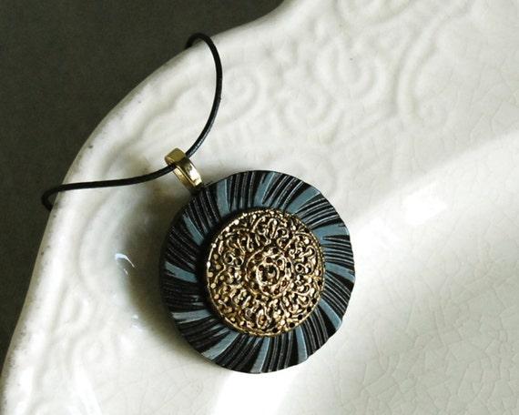 Vintage Button Necklace Golden Twinkle Vintage Button Jewelry