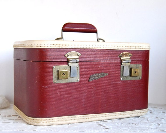Reserved for Annabella -- Vintage Luggage Train Case Burgundy Red Horn Pennantone Rice Stix  Suitcase