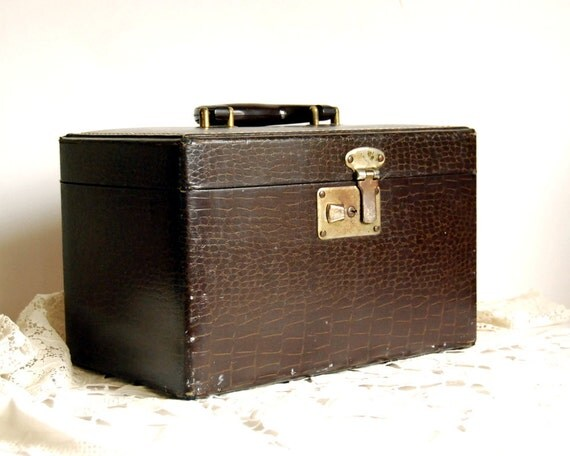 Vintage Luggage Mock Croc Train Case Faux Alligator Suitcase Brown
