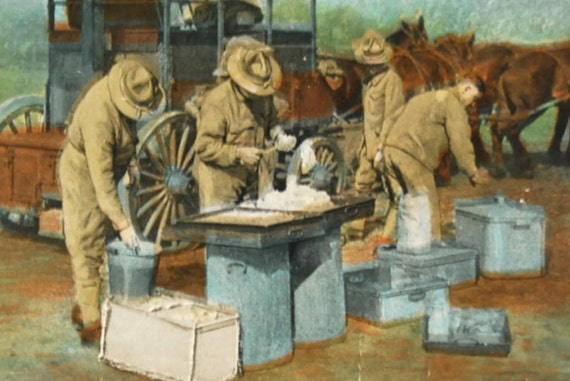Vintage Postcard World War I Field Kitchen U.S. Military Army A.R.A. Card 1917 Horse Wagon