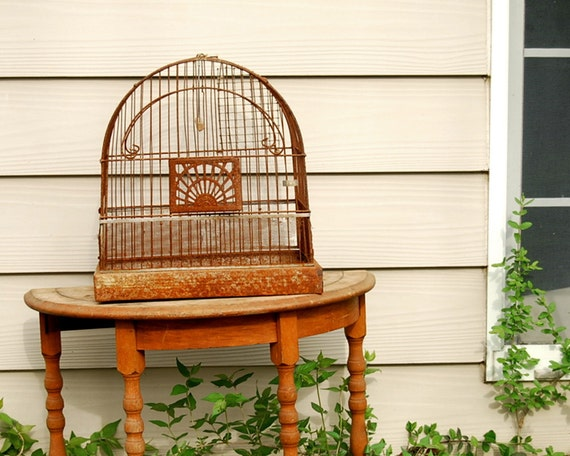 Vintage Birdcage 1930s Crown Rusty Wire and Metal Bird Cage
