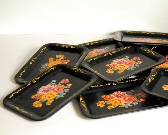 Vintage Trays Tin Tip Trays Set Black Floral Toleware Style Small Floral