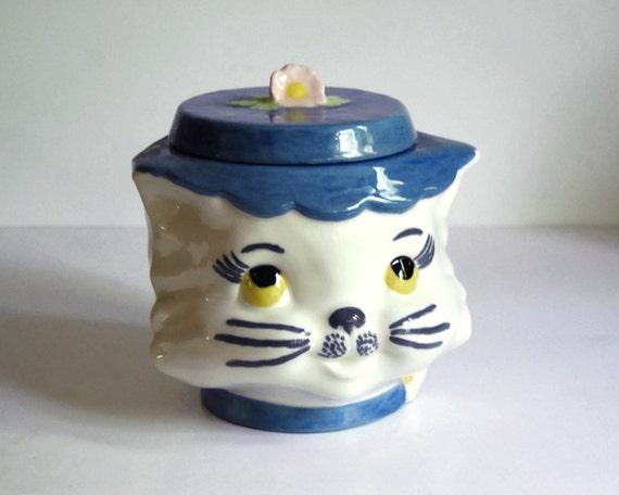 Vintage Cat Cookie Jar Ceramic 1960s Canister, Lefton Knock Off