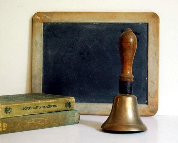Vintage Brass School Bell Antique Wood Handle Brass Cast Bell