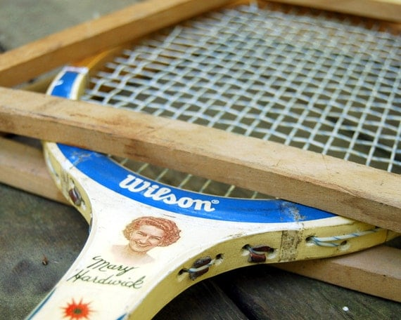 Vintage Tennis Racket 1940s Wilson Valiant Mary Hardwick Wooden Tennis Racket with Frame