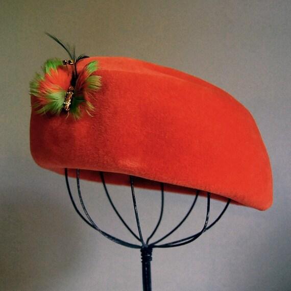 Italian Pumpkin Orange Fur Felt Hat, by Borsalino Antica Casa