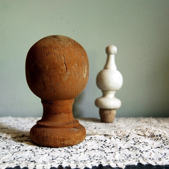 Newel Post Knob And Finial Vintage Wood Pieces