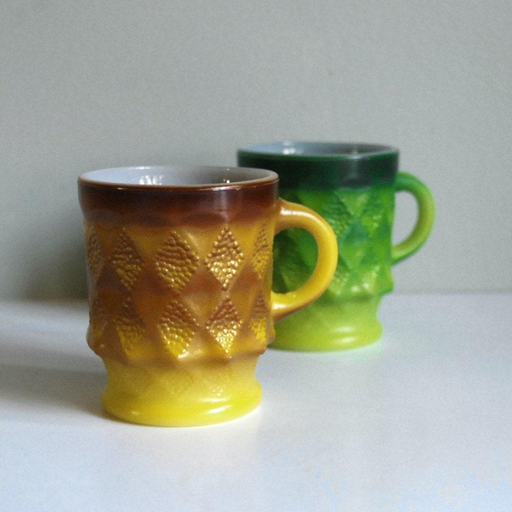 Fire King Kimberly Vintage Set Of Mid Century Mugs