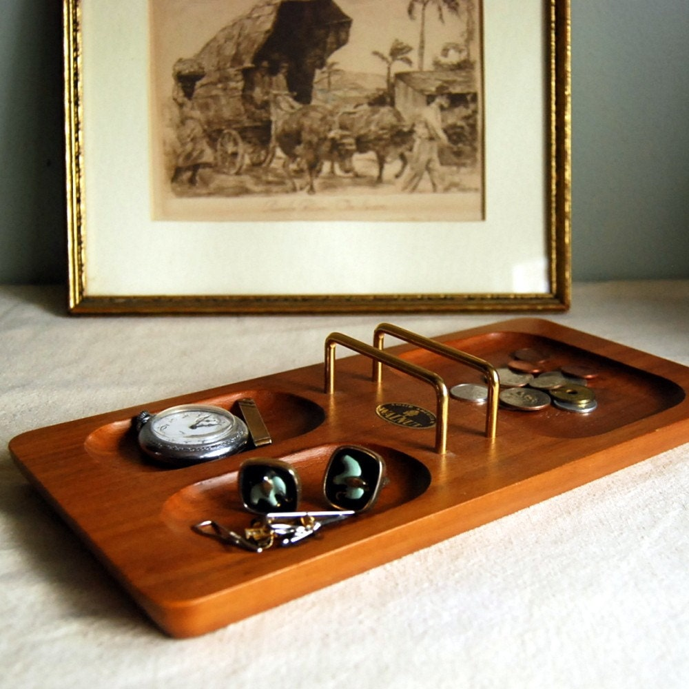 Vintage Walnut Wood Men S Dresser Tray Valet Or By