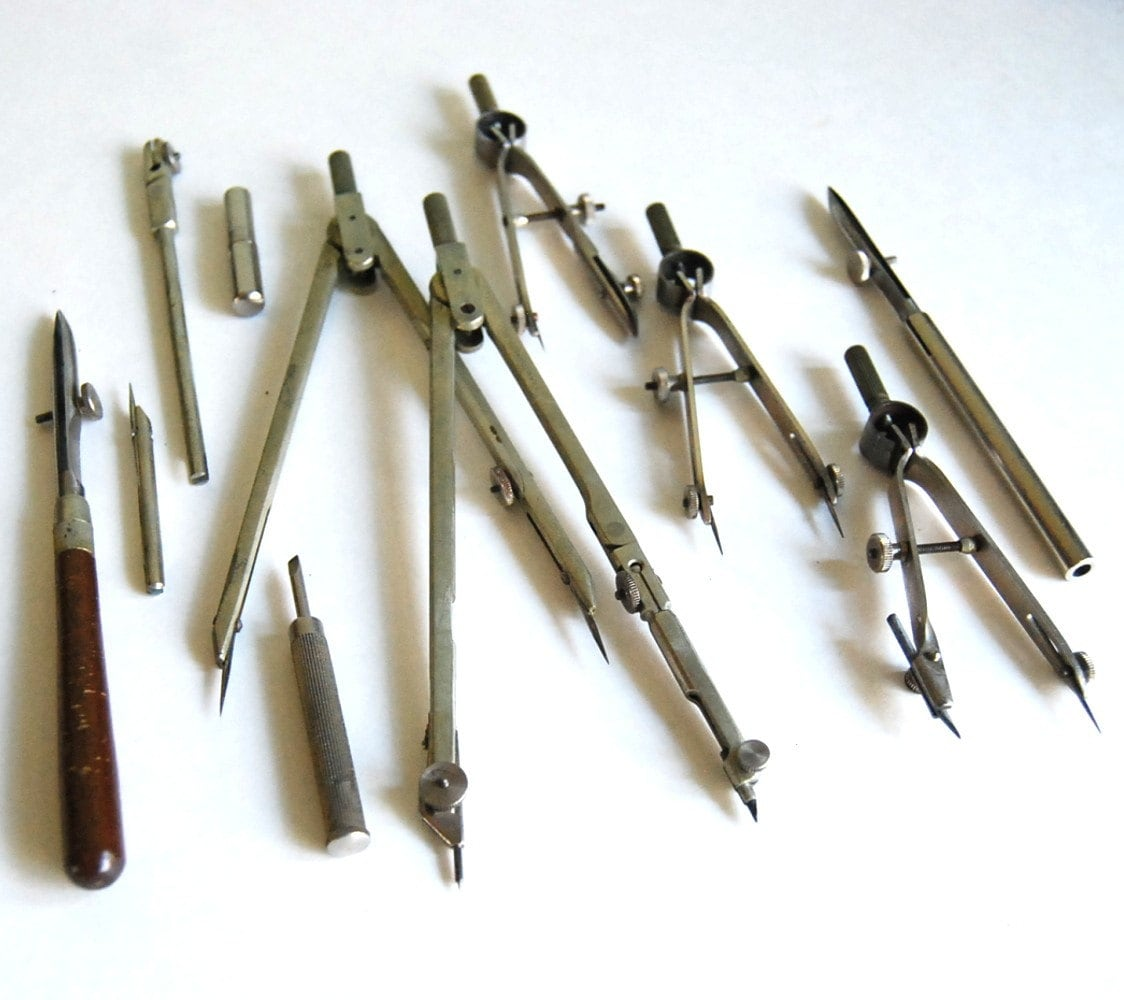 Tools Used In Drafting Equipment Or Instrument : Vintage dietzgen commander drawing instruments drafting tool