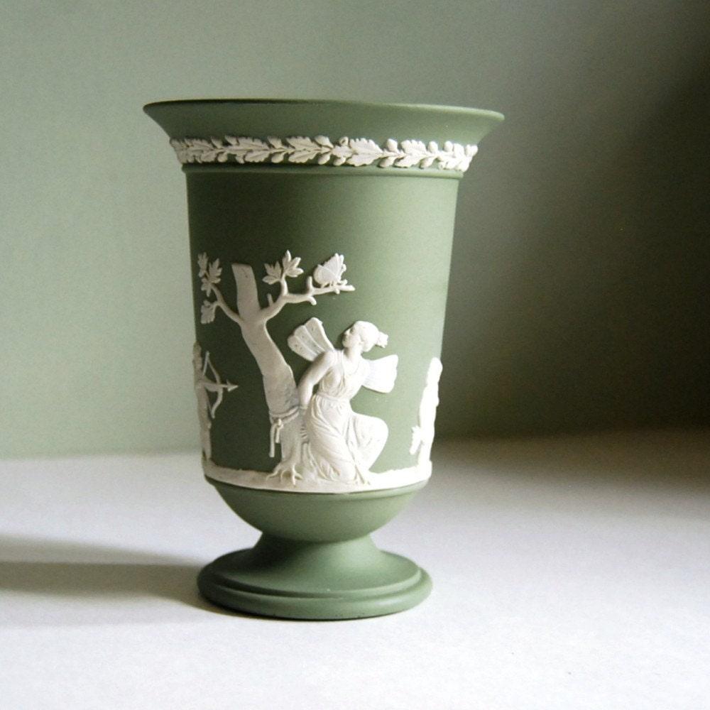 Wedgwood Jasperware Vase Sage Green With Cupid By Calloohcallay