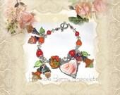 Broken China Charm Bracelet - Broken China Jewelry - Broken China Heart Bracelet -  Vintage China Bracelet