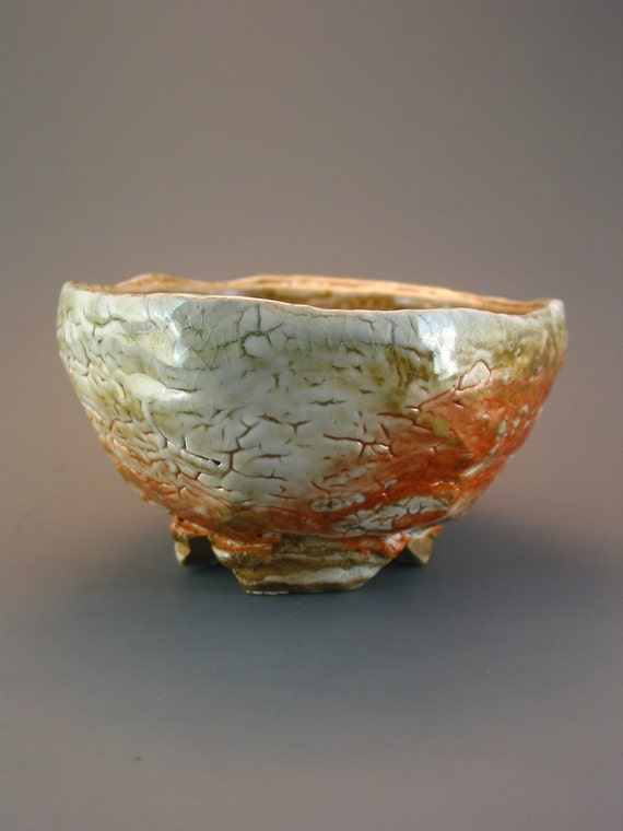 Bonsai Container, wood-fired stoneware with crawling shino glaze.