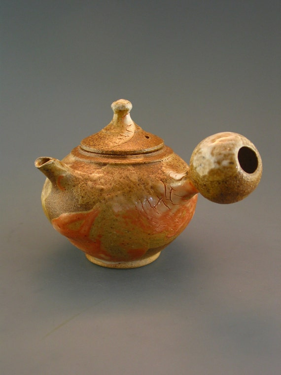 Kyusu Teapot, wood-fired stoneware w/ crawling shino and natural ash glazes