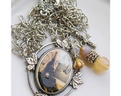 Paris Vacation Charm Necklace Pendant Altered Art Sterling Silver - ZaftigDelights