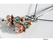 Long Dangle Earrings, Czech Glass Flowers, Peach & Green Mixed Metals