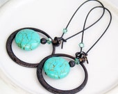 Earrings Turquoise Puffy Coins Dark Antique Brass Circle  Swarovski Crystals