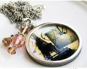 Charm Necklace Altered Art Meet Me in Paris, Romantic