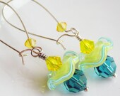 Wavy Disc Earrings, Sterling Silver Turquoise Sunshine Yellow Lampwork Glass Swarovski Crystals