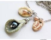 Rustic Charm Necklace, Tahitian Pearls, Peach Aqua Tan Beach Shells Antique Silver