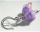 Earrings Violet Flowers Lilac Pink Drops Antique Silver French Hooks