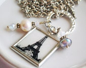 Charm Necklace, Eiffel Tower Altered Art, Silver Pearls Swarovski Crystals, Romance Paris France
