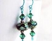 Earrings Lampwork Glass Teal Turquoise Swarovski Crystals Ocean Swirls