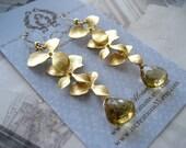 Golden Orchid Cascade Earrings