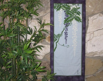 Wisteria Scroll Size Quilted Wall Hanging Japanese Asian Design