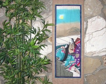 Heian Court Ladies Autumn Moon Viewing Scroll Size Wall Hanging Quilt