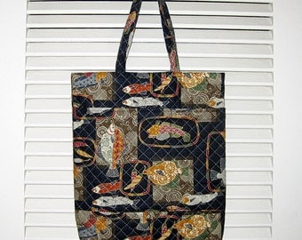 Handy Tote Quilted Asian Japanese Fabric Fish Design Navy