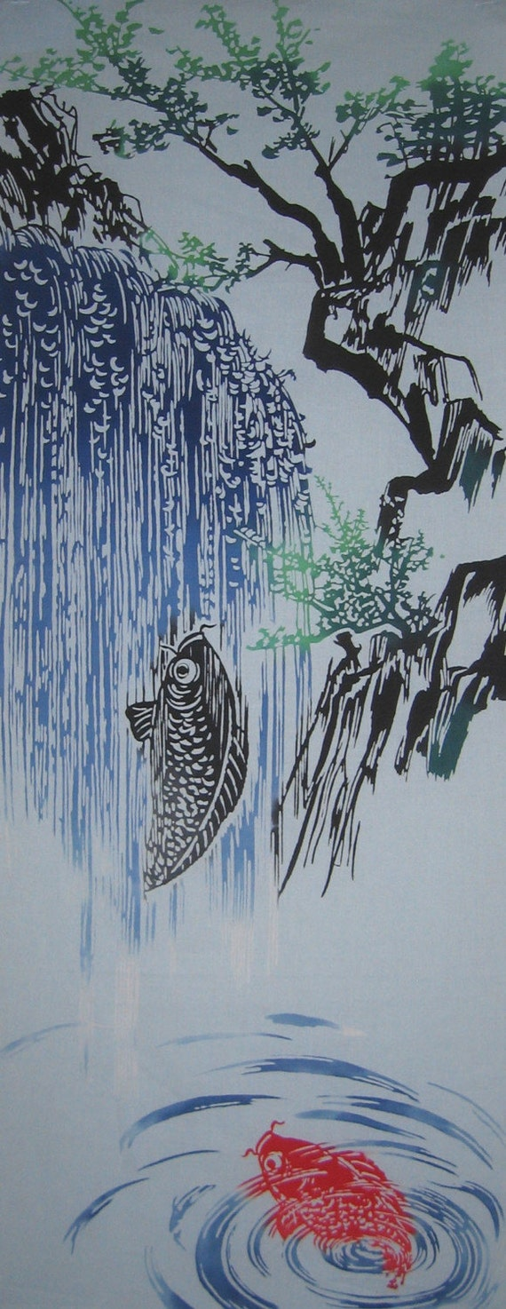 Koi and waterfall design japanese oriental by for Waterfall design etsy