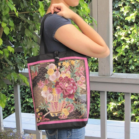 Asian Themed Front Panel Purse Tote PEONY Design