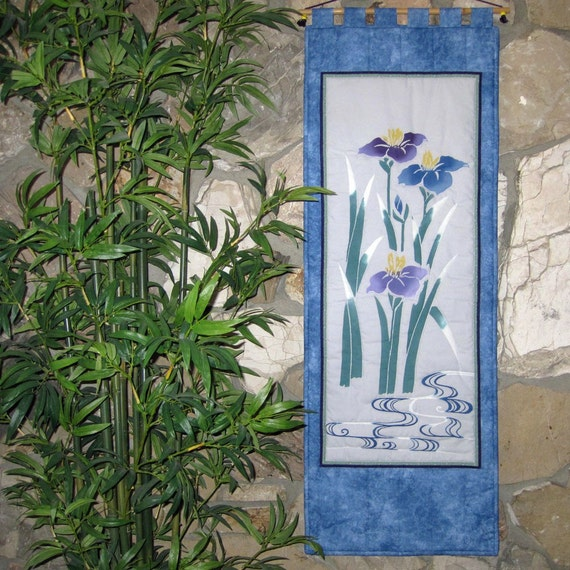 IRISES by the STREAM Scroll Size Wall Hanging Quilt Asian Japanese Design Reduced Price
