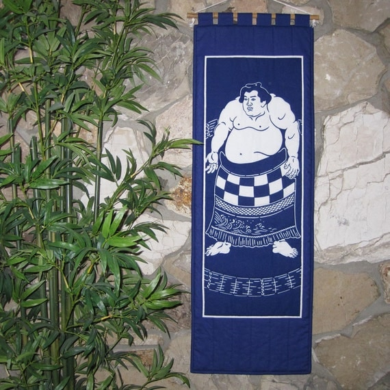 Japanese Wall Hanging Quilt Scroll Size Sumo Mawashi Design CLEARANCE
