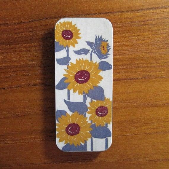 Metal Slider Top Box or Mini Business Card Holder Sunflower Design