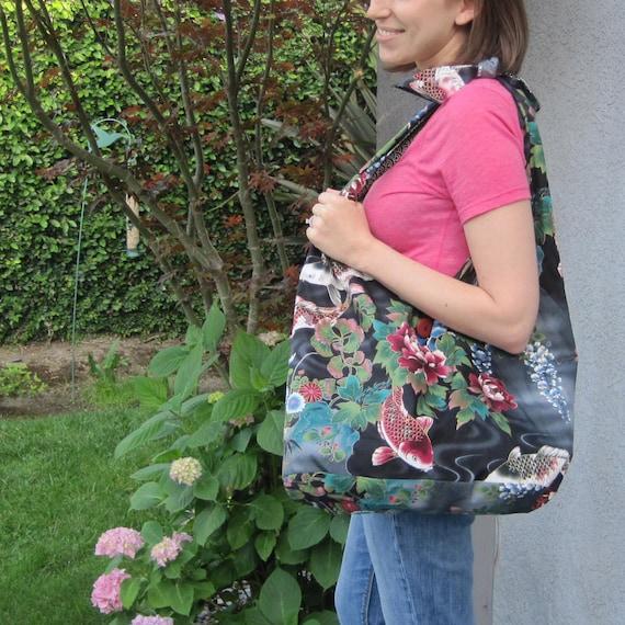 Koi and Peony Design Slouch Shoulder Market Bag Japanese Asian Fabric Design