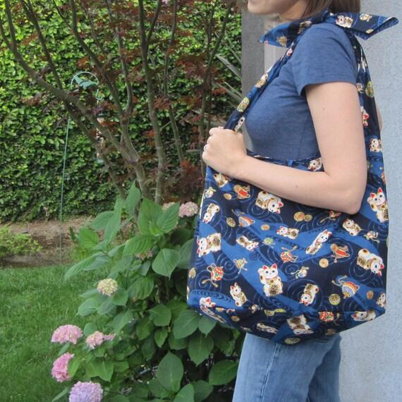 Slouch Bag Japanese Maneki Neko Cat Design