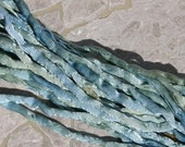 Seaside Hand Dyed Silk Cord, Sea Side Silk Cords, Silk Cording, Jewelry Making Strings Blue Tan Green, Soft Seaglass Colors