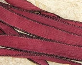 BLACK CHERRY Red Silk Ribbons, 5 Hand Dyed Handmade Silk Ribbons, Deep Red Jamn, Great Necklace Ribbons or Bracelet Wraps