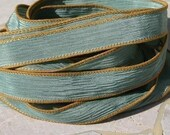 HUSHED TEAL Silk Ribbons Strings Hand Dyed Sewn Silk Green Jamn, Great for Jewelry or Crafts