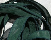 EVERGREEN Silk Ribbons 5 Hand-Dyed Sewn Strings Dark Pine Green Jamn, Great for Silk Wrap Bracelets, Necklace or Crafts