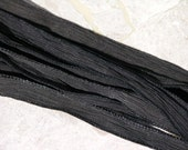 BLACK Silk Ribbons 5 Hand-Dyed Strings, Hand Dyed Silk Ribbon, Silk Wraps for Jewelry and Crafts