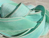SEAGLASS Silk Ribbons Qty 5 to 40 Bulk Wholesale Listing, Hand Dyed Silk Ribbons, Sea Glass Color in Soft Delicate Blues Greens Aqua