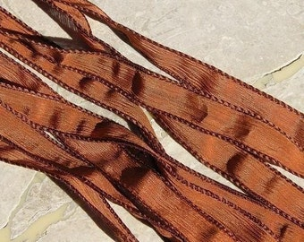 Rust Silk Ribbons Hand Dyed Strings Brown Burnt Umber