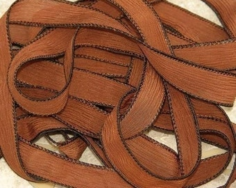 CHOCOLATE BROWN Silk Ribbons Hand Dyed Sewn 5 Strings Cocoa Brown, Great for Silk Wraps or Necklaces