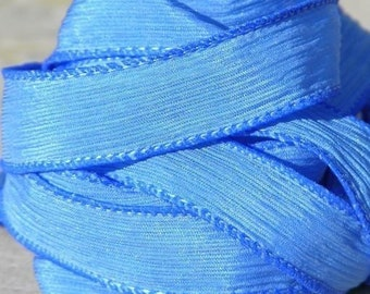 SKY BLUE Silk Ribbons, Crinkle Silk Ribbons, Qty 5 Hand-Dyed Sewn Strings Medium Blue, Silk Ribbon for Necklaces or Bracelet Wraps