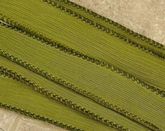 Avocado Silk Ribbons, Crinkle Silk Ribbons, Qty 5, Green Strings, Hand Dyed Sewn Jewelry Making Stringing Supplies, Craft Ribbon