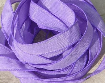 LILAC Silk Ribbons, Crinkle Silk Ribbons, Qty 5, Hand Dyed, Silk Strings, Light Purple, Craft Ribbon, Stringing Supplies Silk Wrap Bracelets